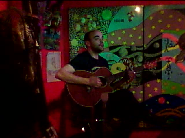 Elliott at the open mic at the Cabaret Culture Rapide in Paris' Belleville part of town.