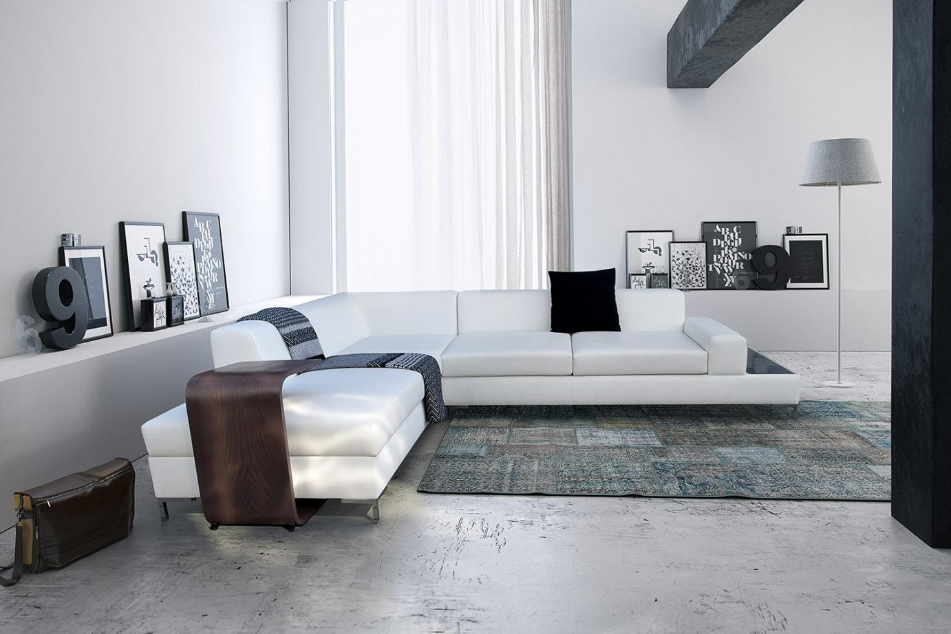 Corner Sofa With A Glass Or Wooden Shelf