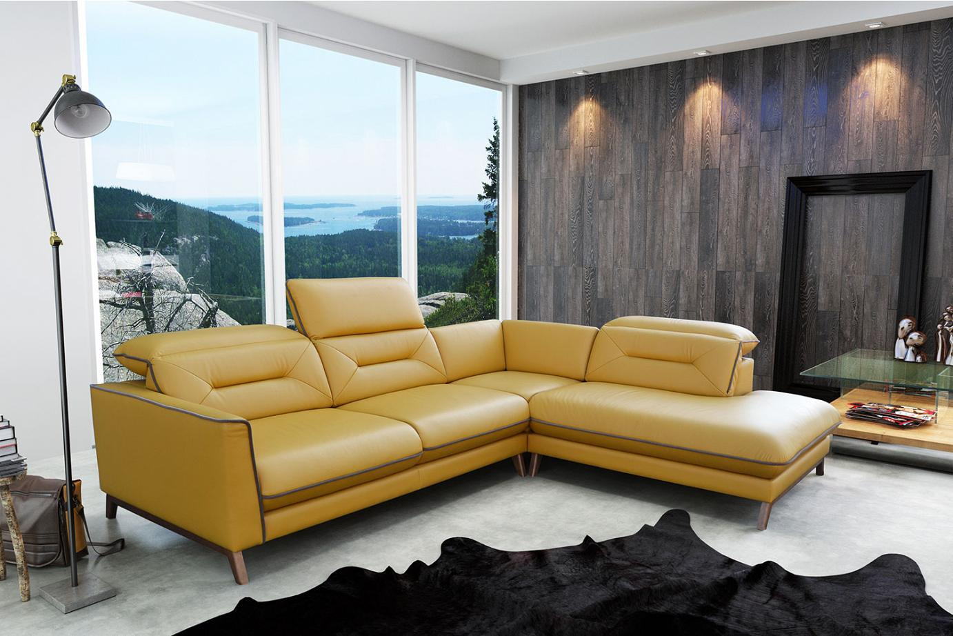 Retro Sofa Leather Stylized Retro Corner Sofa