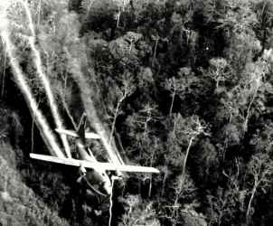 FILE - In this May 1966 file photo, a U.S. Air Force C-123 flies low along a South Vietnamese highway spraying defoliants on dense jungle growth beside the road to eliminate ambush sites for the Viet Cong during the Vietnam War. During the Vietnam War, Air Force C-123 planes sprayed millions of gallons of herbicides over the jungles of Southeast Asia to destroy enemy crops and tree cover. The military stopped the spraying by early 1971, but some Air Force Reserve units continued to fly the former spray planes until the early 1980s. Some veterans who flew in those planes after the war have been getting sick, and like many Vietnam veterans, they're blaming the herbicides they say still coated the planes for decades. Their crusade has been led by a former Oregon resident and Air Force veteran.(AP Photo/Department of Defense, File)