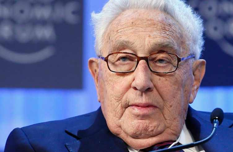Kissinger, chairman of Kissinger Associates, attends the annual meeting of the World Economic Forum in Davos