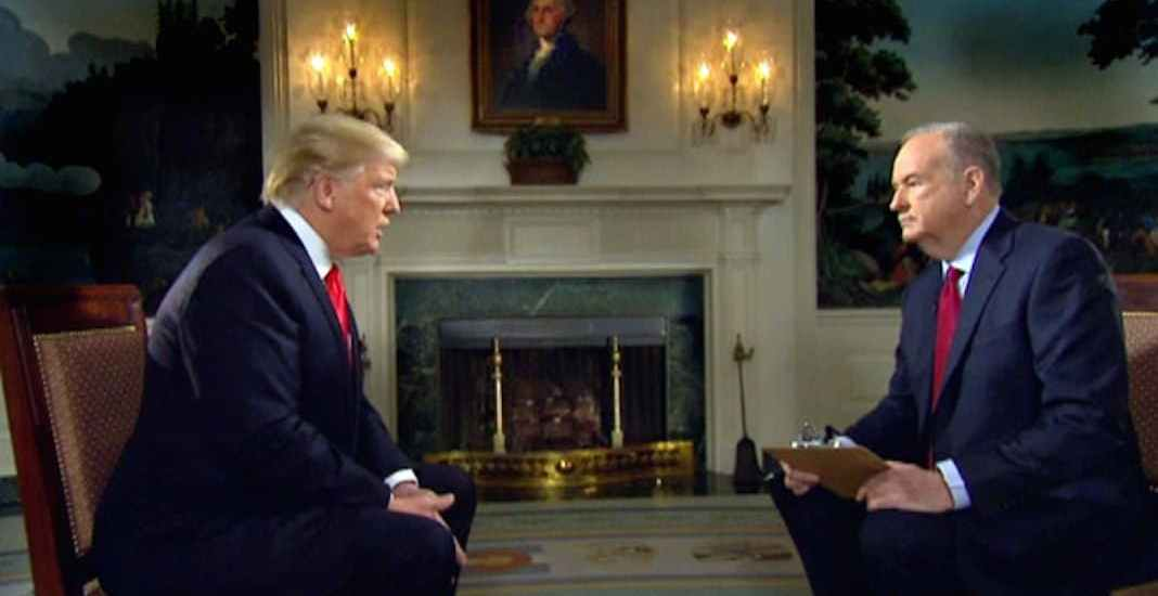 President Trump and Bill O'Reilly before the Super Bowl talking about killers in the US government
