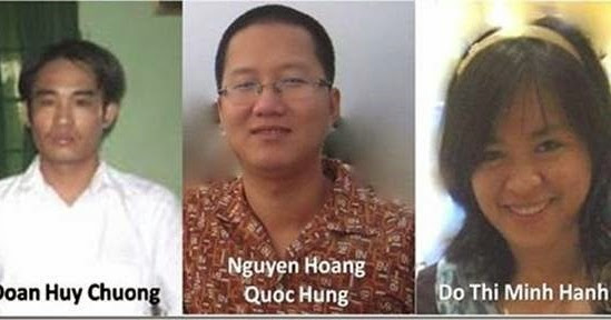 Doan Huy Chuong and his co-defendants from his 2010 trial; Nguyen Hoang Quoc Hung remains in prison today - VIETNAM VOICE