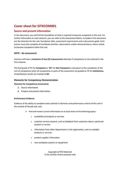 RTO Materials - SITXCOM001 Cover Sheet V10 - Page 1