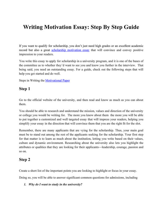 motivationessay - 10 Steps in Writing a Motivation Essay for