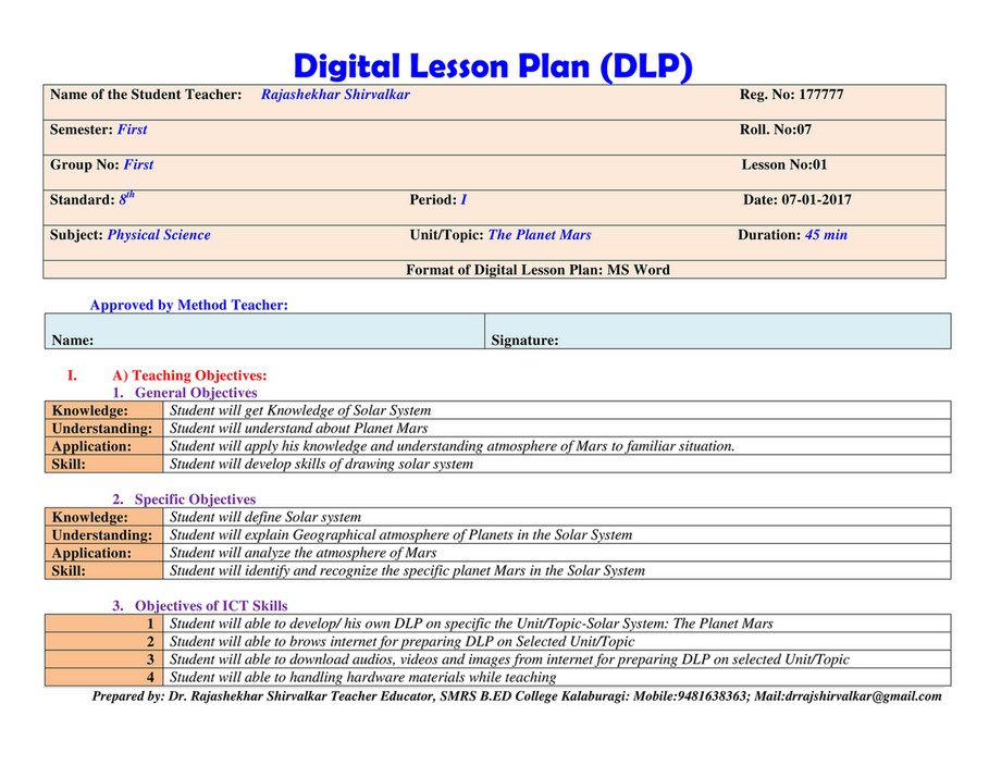 My publications - Sample of Digital Lesson Plan-DLP - Page 1