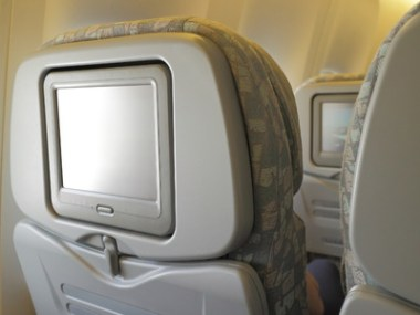 33437791 - white lcd screen in an airplane seat, copy space for text or image