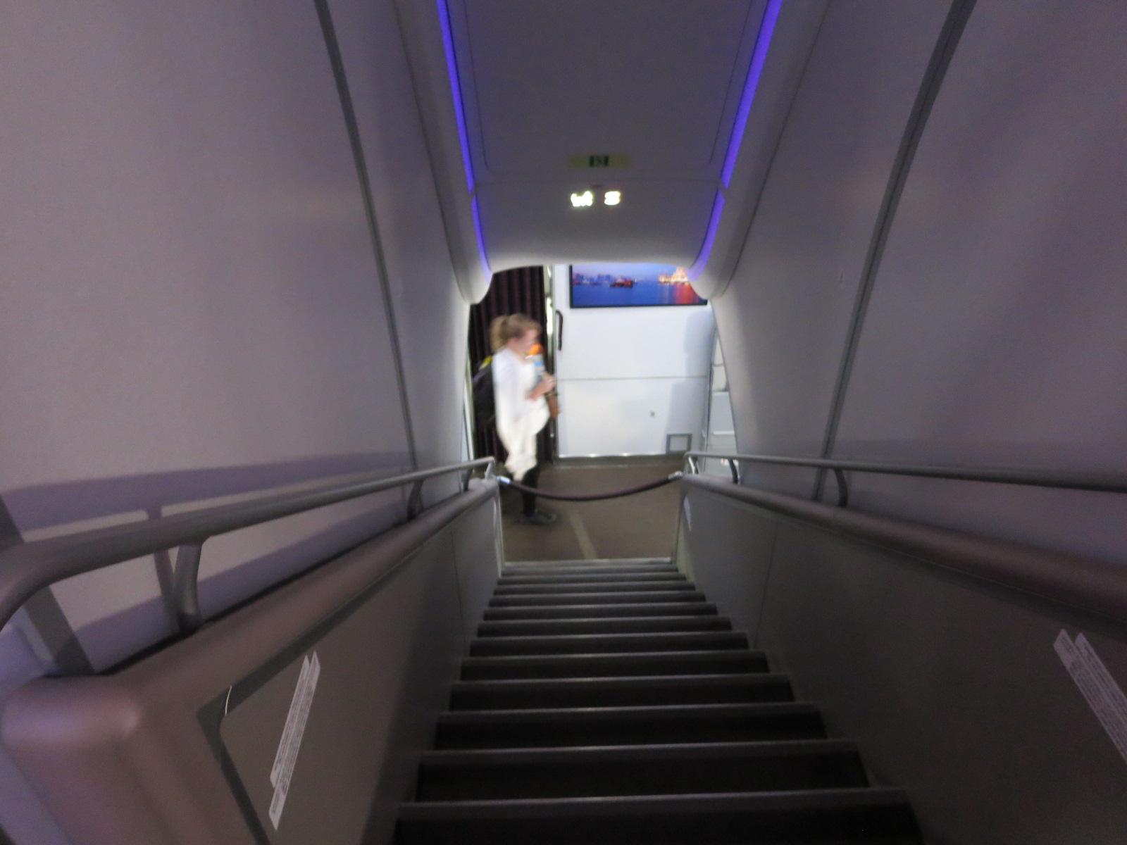 Qatar Airways A380 first class stairs Bangkok-Doha