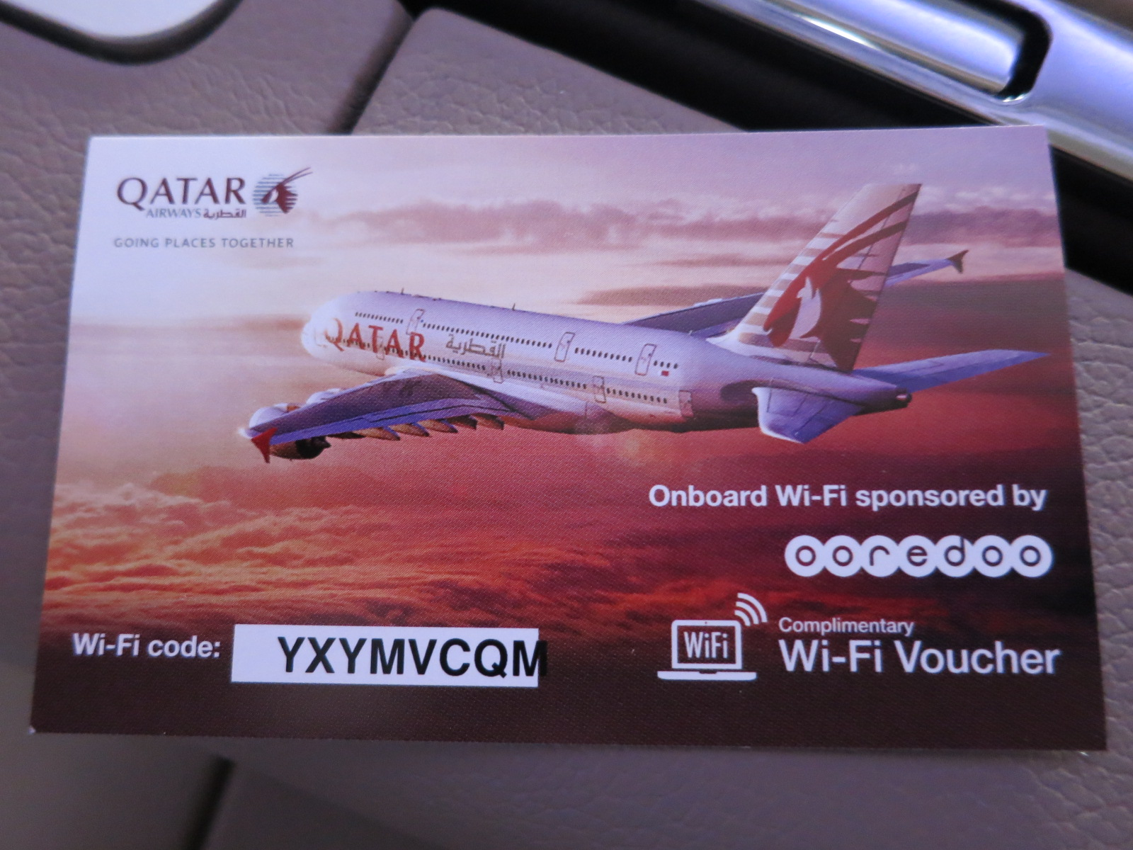 Qatar Airways A380 first class Bangkok-Doha free wifi