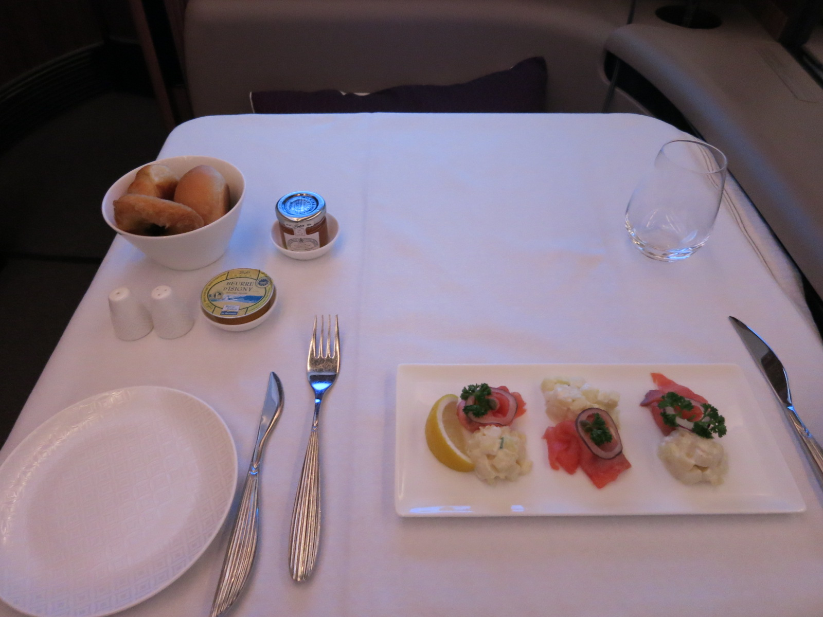 Qatar Airways A380 first class meal service Bangkok-Doha