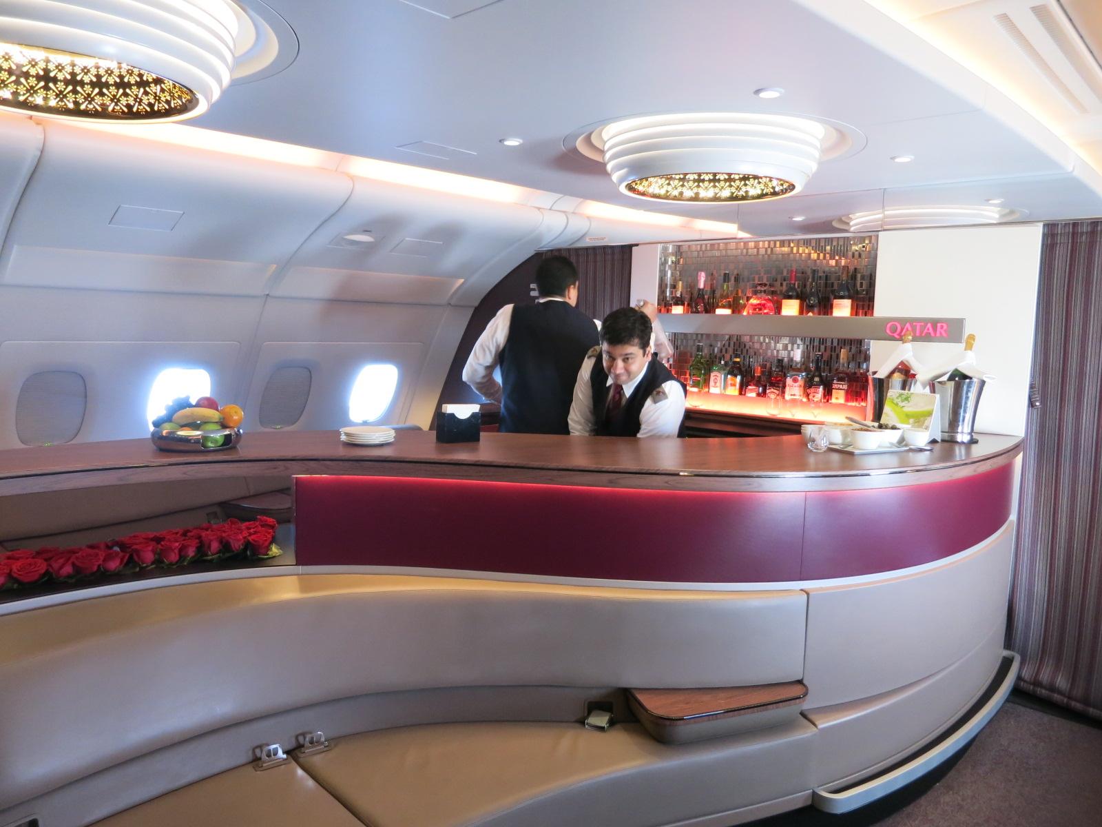 Qatar Airways A380 first class bar Bangkok-Doha