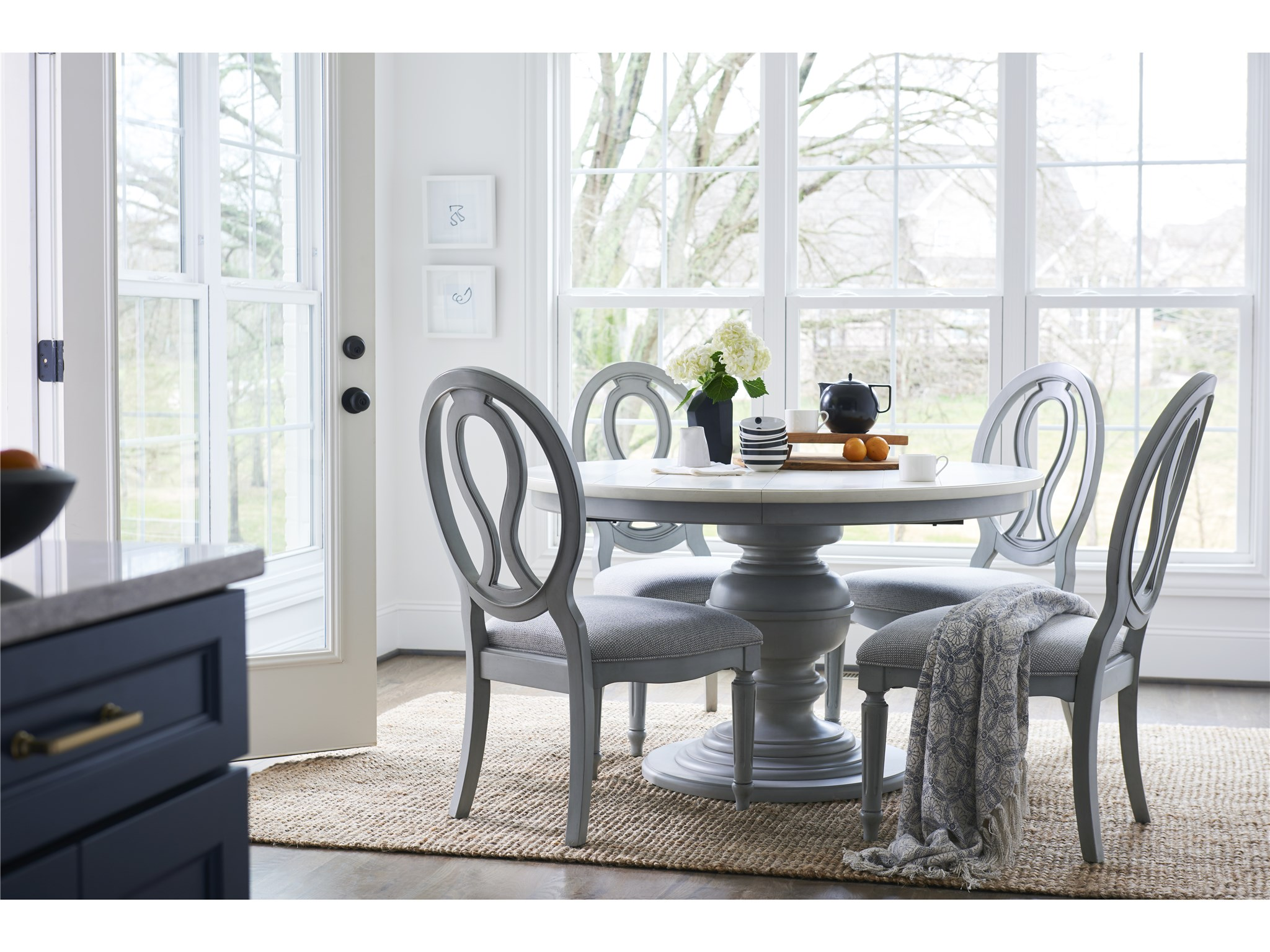 Summer Hill French Gray Round Dining Table Universal Furniture