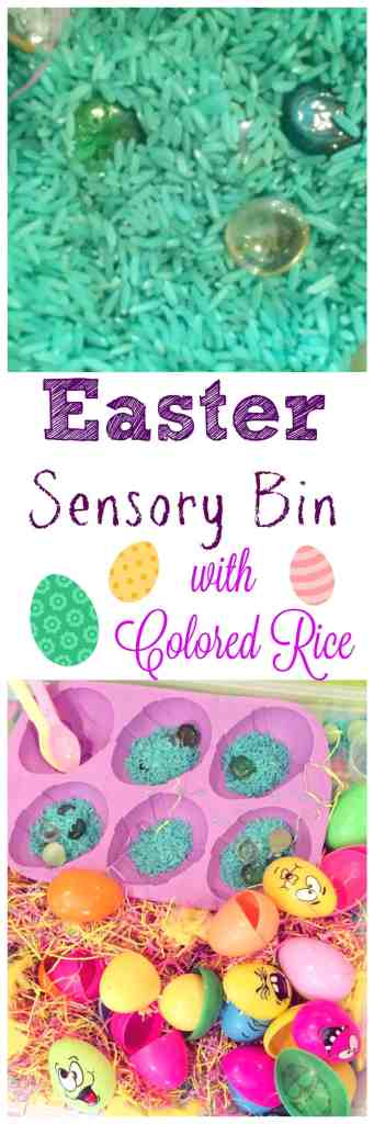 This Easter sensory bin is such a fun one, with colored rice, easter grass, plastic eggs, little bunnies and a silicone egg mold, my kids are keeping very busy!