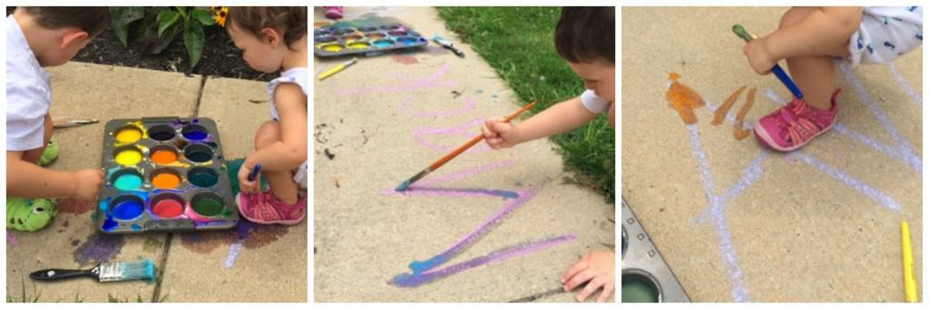 Learning letter and sight words is something that often occurs through play. When introducing these topics, have kids use their entire bodies and gross motor skills to explore the letters, this helps really wire those connections in the brain. Check out how we are learning with sidewalk chalk!