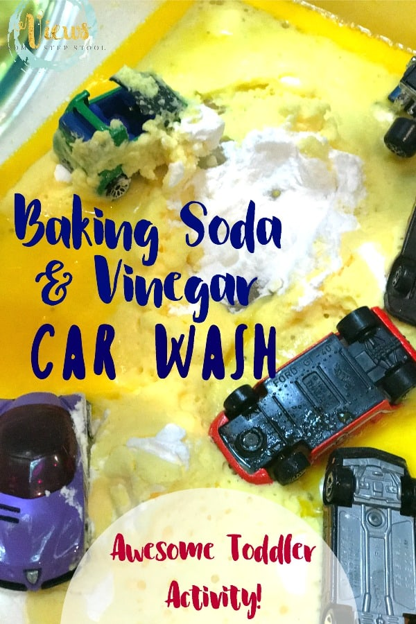 This simple science experiment combines baking soda and vinegar with pretend play, perfect for toddlers! An erupting kids car wash engages all the senses.