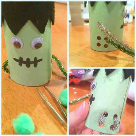 This simple up cycled Halloween craft is perfect for fine motor practice and serves as a great homemade game! Doubles as cute decor!