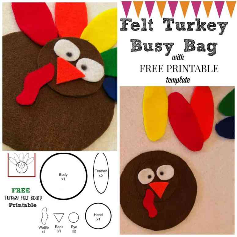 Use this FREE printable to create your own SIMPLE felt turkey busy bag