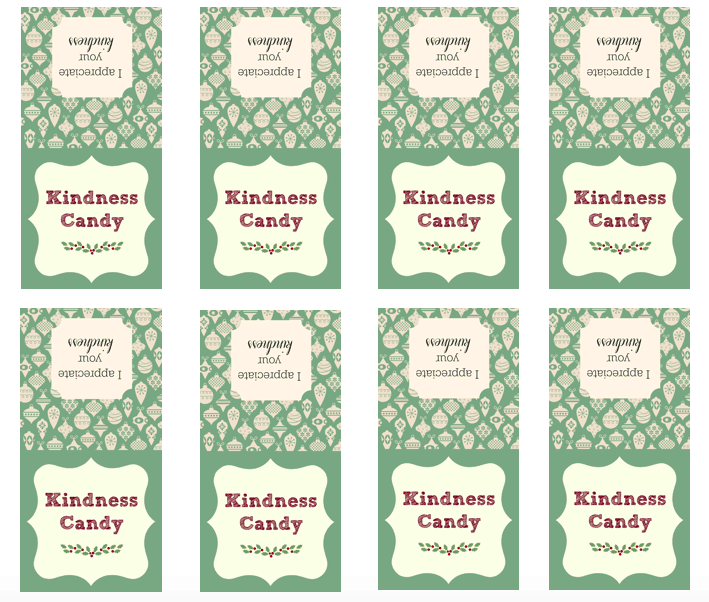 Create some kindness candy bags with this free printable and spread a little holiday cheer! Teach kindness.