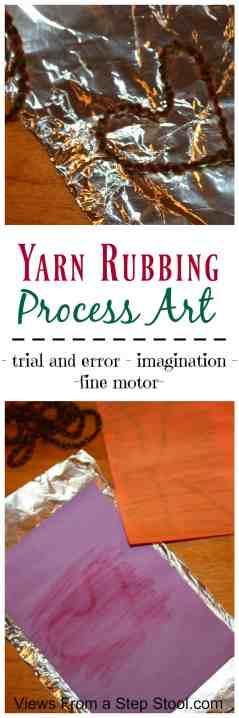 Wow! By sandwiching yarn in some aluminum foil, kids can create a yarn rubbing template to create artwork! This process encourages imagination, trial and error, and some fine motor work. As with all process art, this projects really focuses much more on the process of creating the art, rather than the finished product itself.