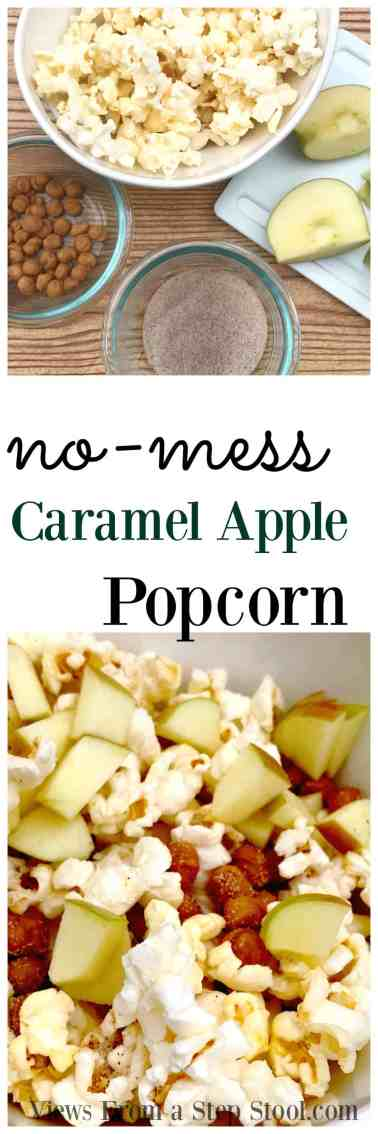 This no-mess caramel apple popcorn is the best Fall treat, minus the guilt! Perfect for a cozy, family movie night under the blankets.