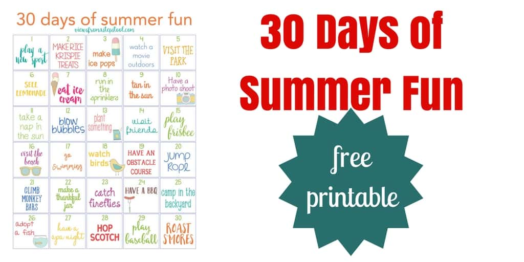 30 Days of Summer Fun Free Printable Calendar -Views From a Step Stool
