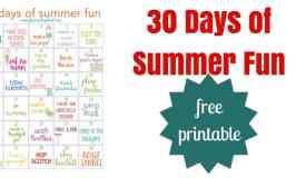 30 Days of Summer Fun Free Printable Calendar
