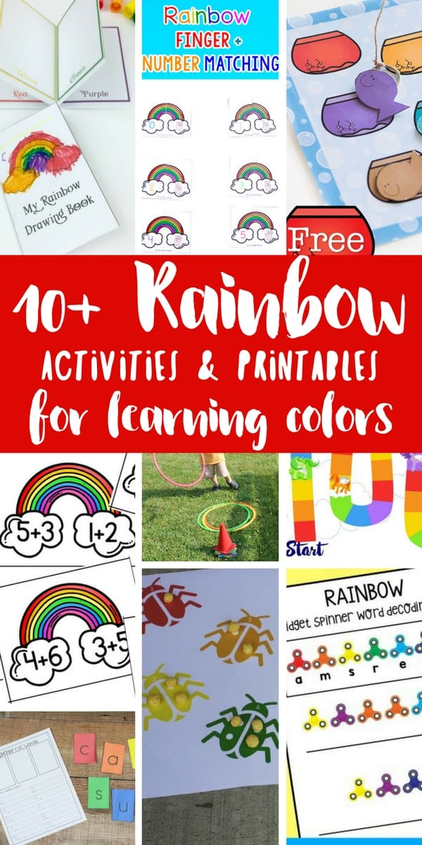 So many fun ways to learn colors with rainbows. Free printables and activities for toddlers and preschoolers, as well as rainbow busy bags for learning.
