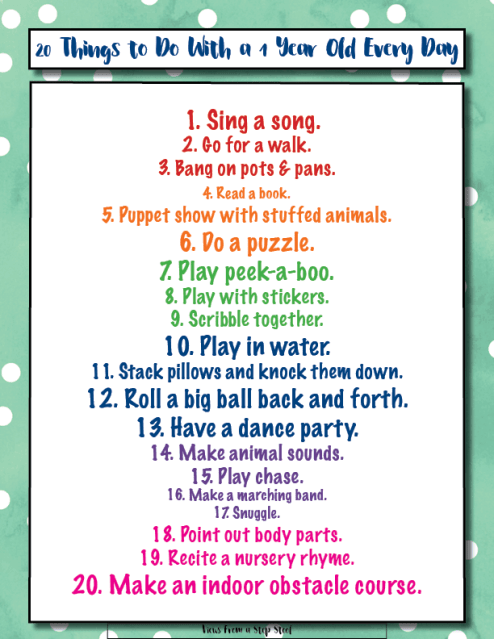 1 Year Old Activities Printable