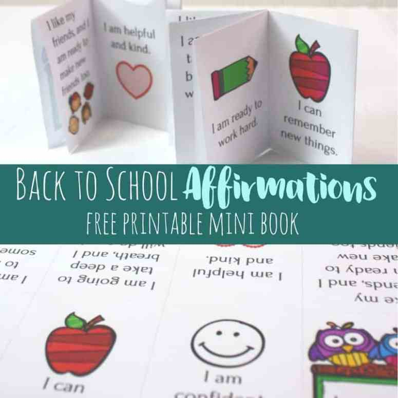 These positive affirmations for school can be printed in a mini book!