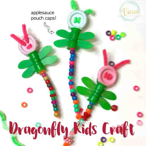 Use applesauce pouch caps to create this cute dragonfly kids craft! A fun upcycled fine motor activities for kids of many ages.