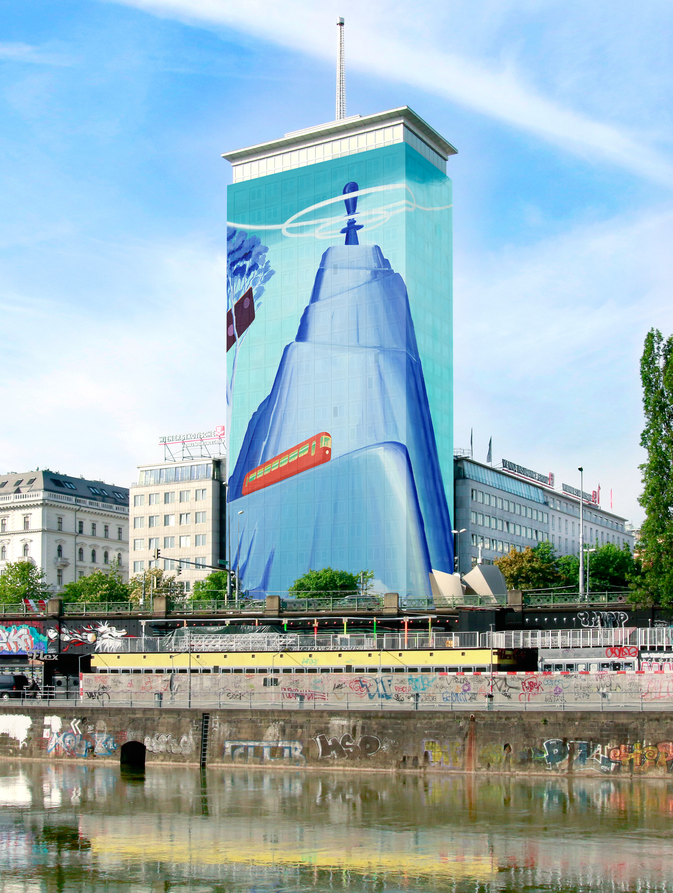 Architektur Rendering Wien Wrapping Of The Ringturm Vienna Insurance Group