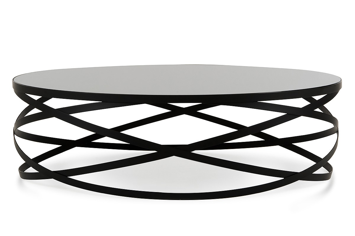 Black Coffee Table Modern Modrest Wixon Modern Black Round Coffee Table