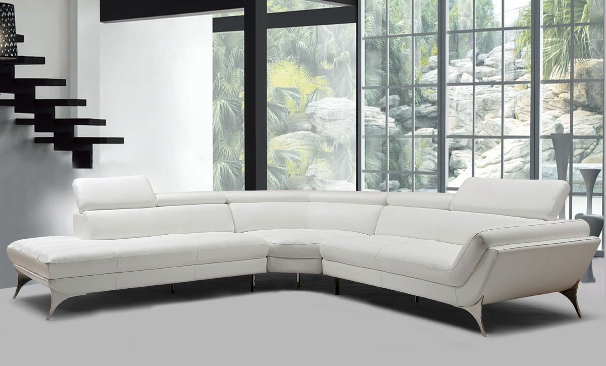 Divani Casa Graphite Modern White Leather Sectional Sofa - Couch Oder Sofa