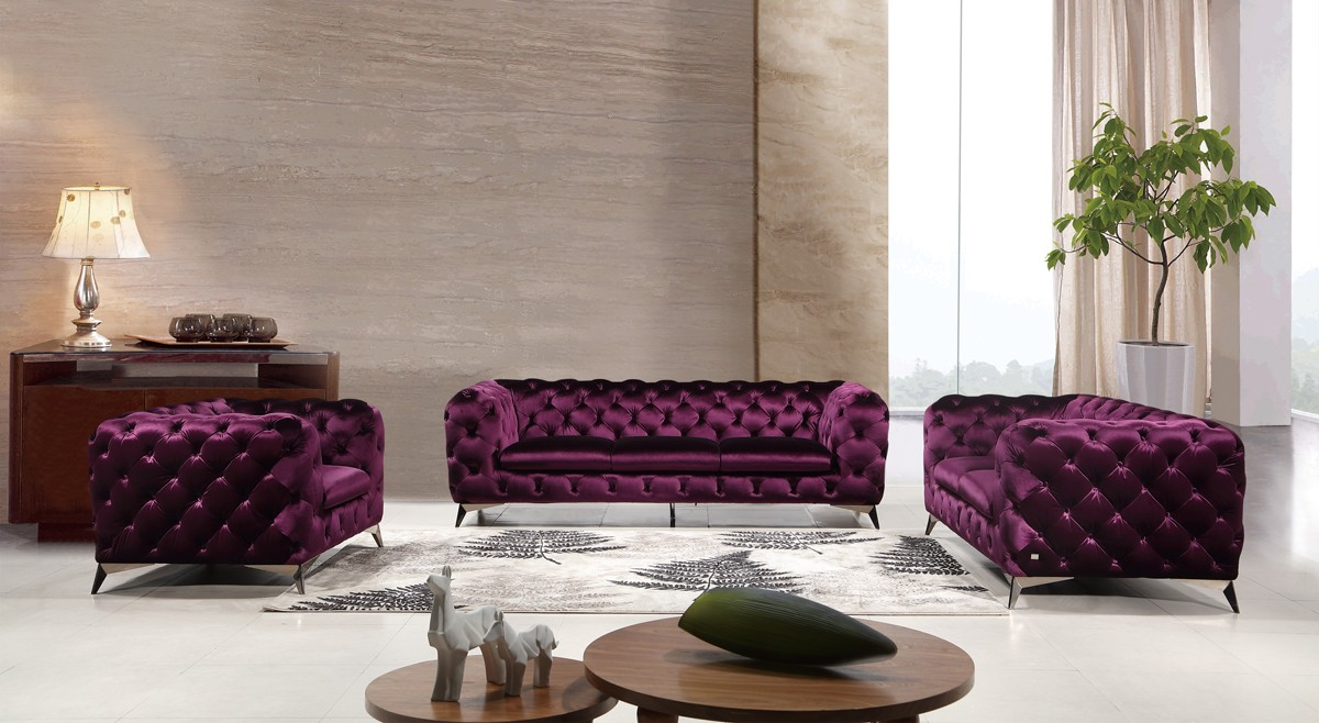 Divani Casa Delilah Modern Purple Fabric Sofa Set Sofas Sofa Sets Living Room