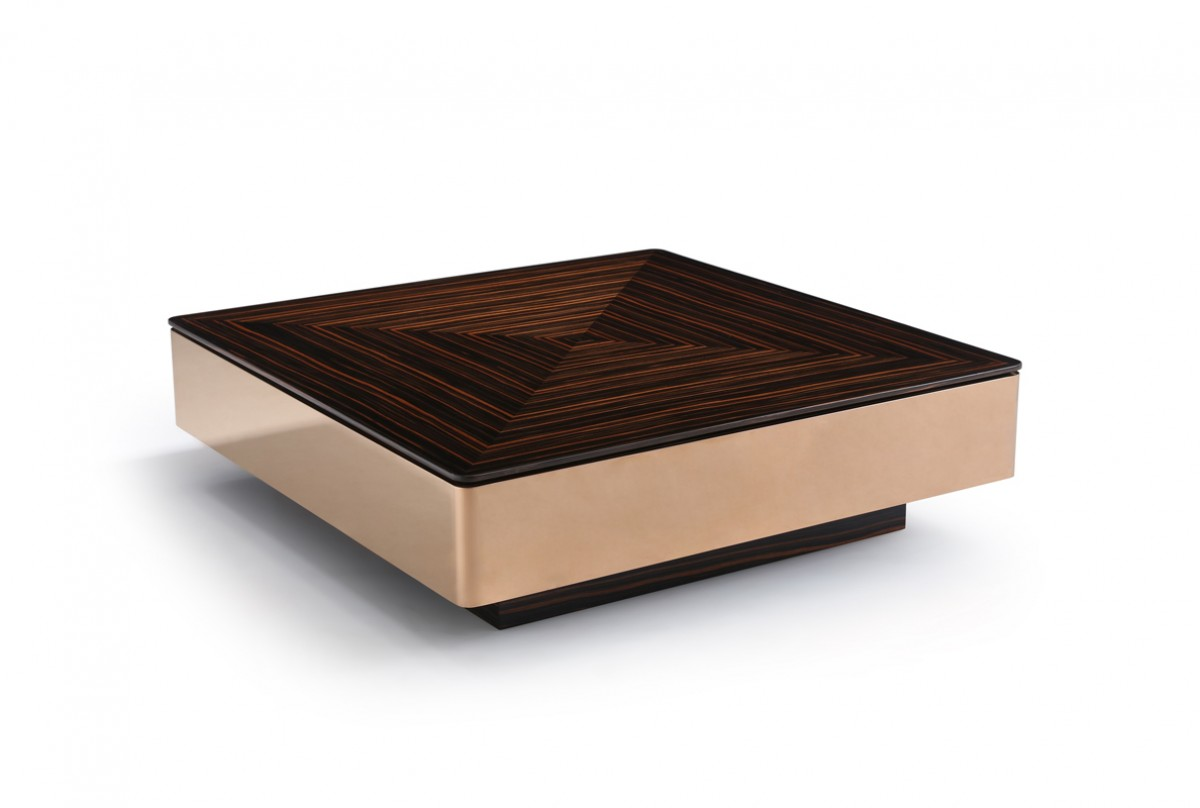 Modern Contemporary Square Coffee Tables Modrest Larice Modern Square Ebony And Rosegold Coffee Table