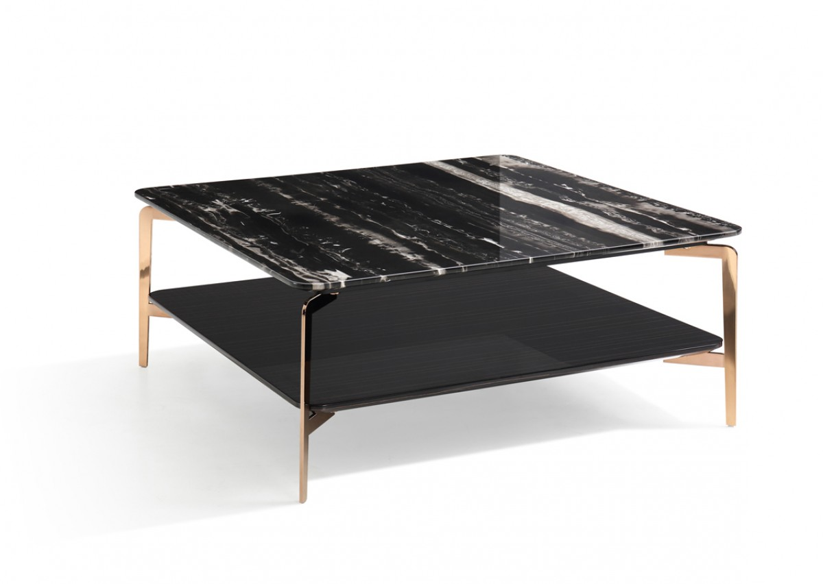 Black Coffee Table Modern Modrest Dorian Modern Black Marble And Ebony Square Coffee