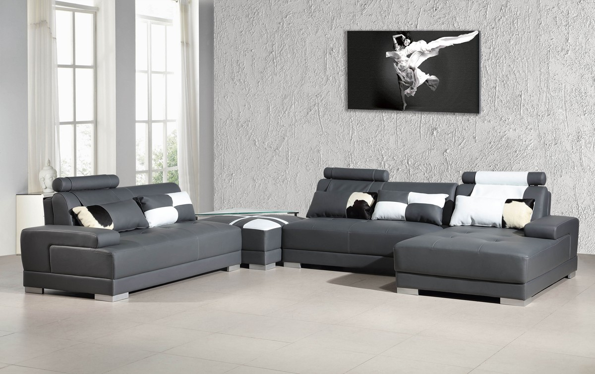 Divani Casa Phantom Modern Grey Bonded Leather Sectional Sofa W Ottoman And Glass End Table - Couch Oder Sofa