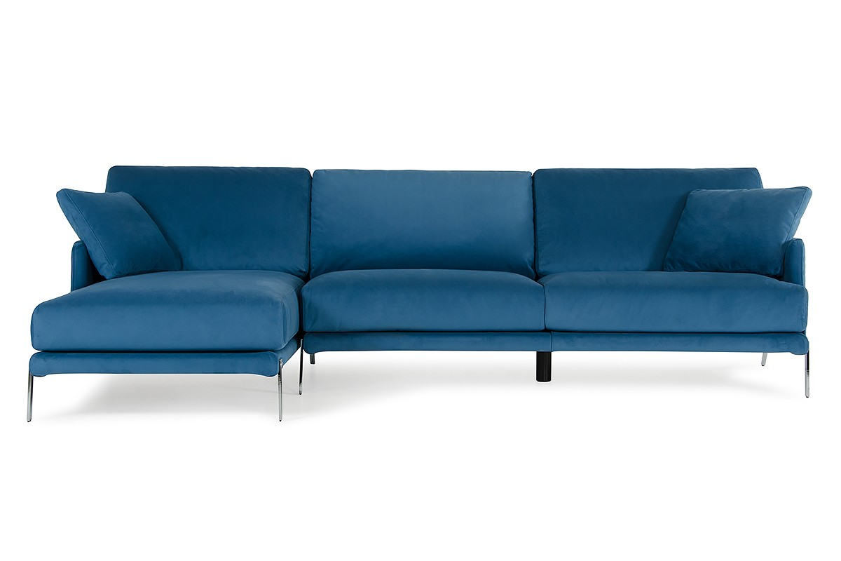 Made Sofa Velvet David Ferrari Achen Modern Blue Velvet Fabric Sectional Sofa
