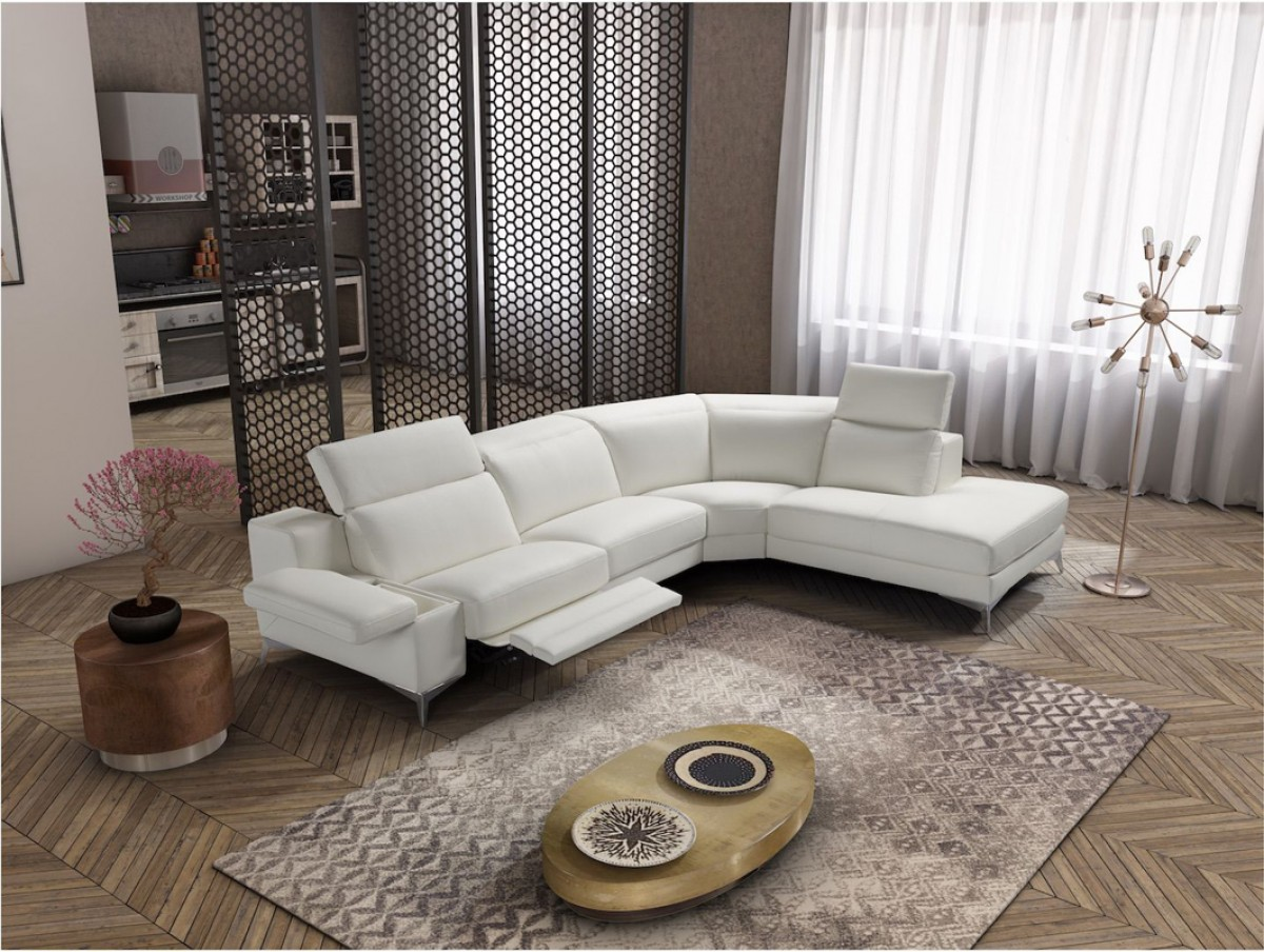 Modern Living Room Recliners Estro Salotti Hypnose Italian Modern White Leather Sectional Sofa