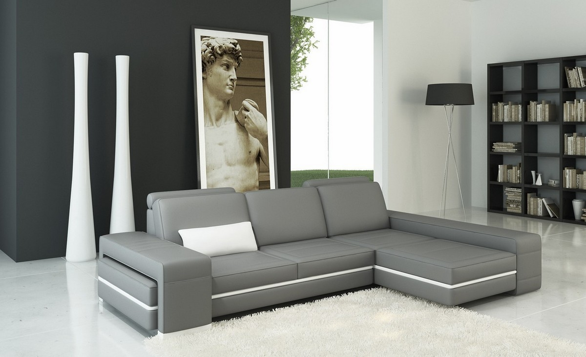 Divani Definition Divani Casa 5070b Modern Grey And White Bonded Leather Sectional Sofa