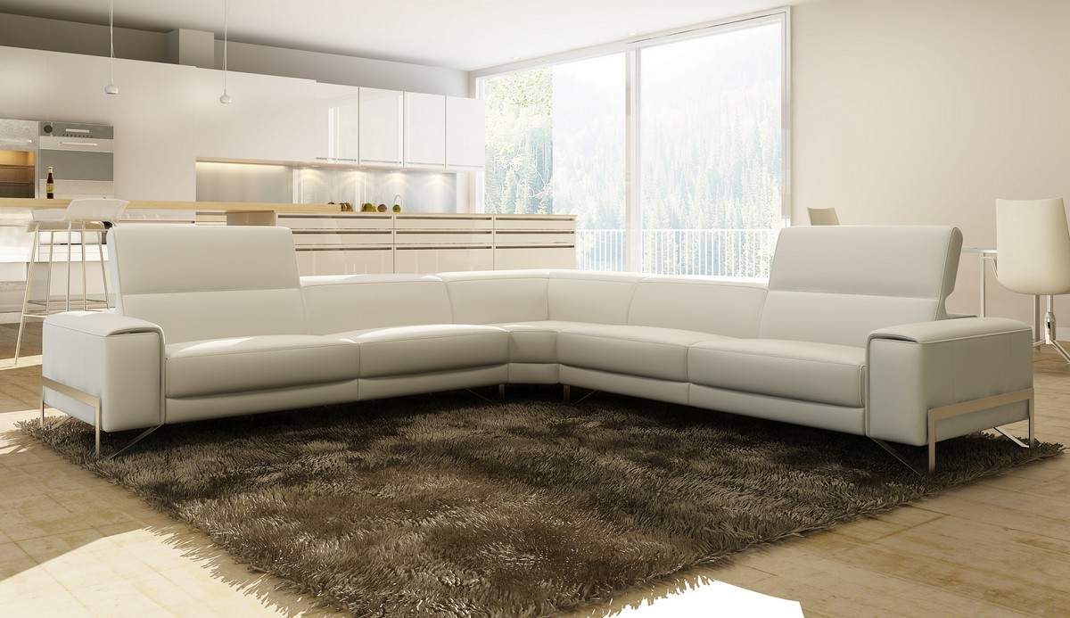 Divani Casa Cobana Modern White Italian Leather Sectional Sofa