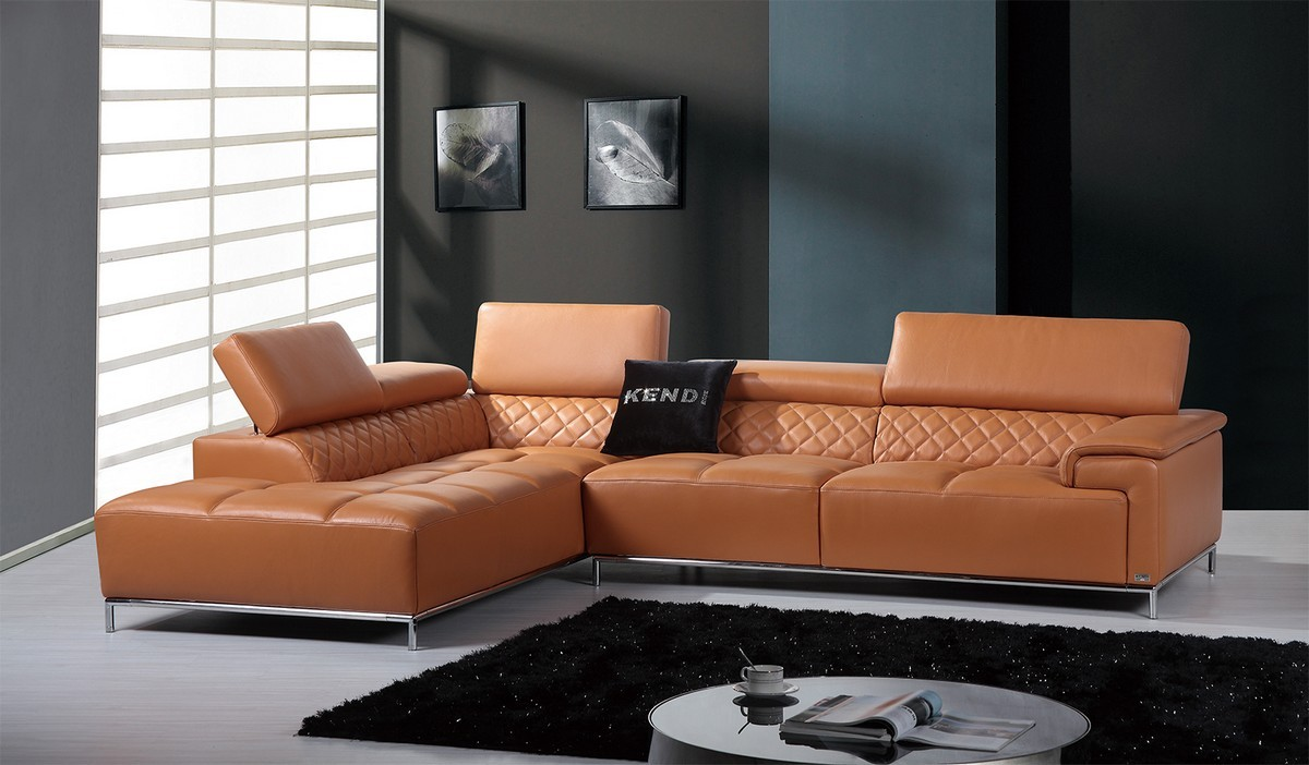 Divani Casa Citadel Modern Orange Italian Leather Sectional Sofa Sectionals Living Room