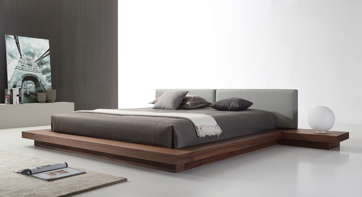 Bett Modern Modrest Opal Modern Walnut & Grey Platform Bed