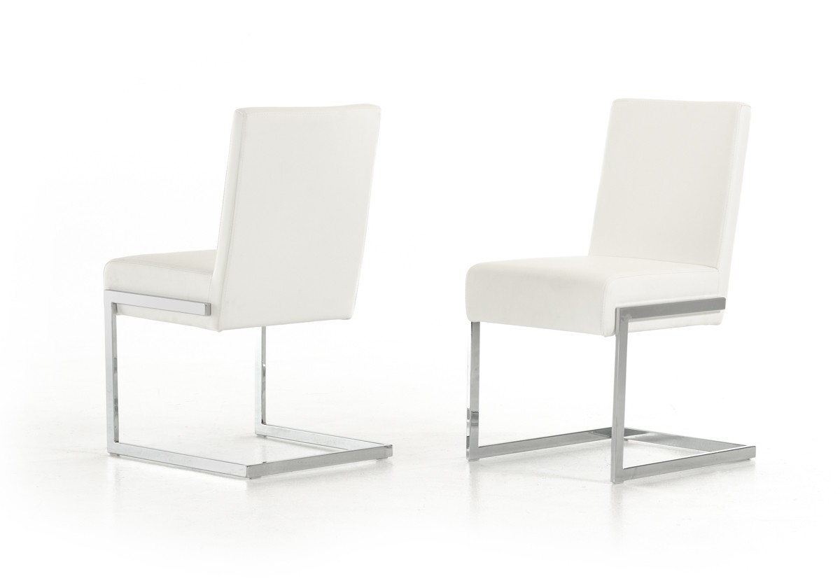 White Modern Chair Batavia Modern White Leatherette Dining Chair Set Of 2