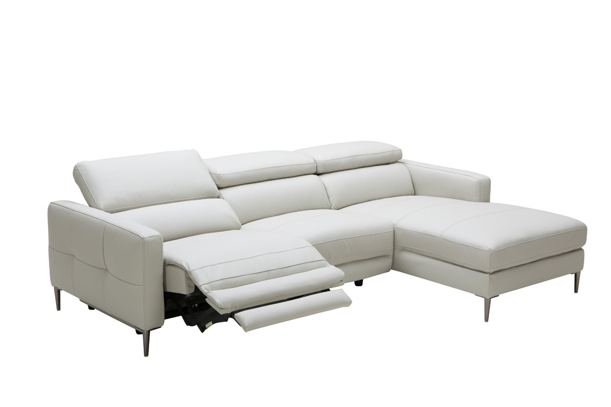 Divani Leather Sofa For Sale Divani Casa Booth Modern Light Grey Leather Sectional Sofa W