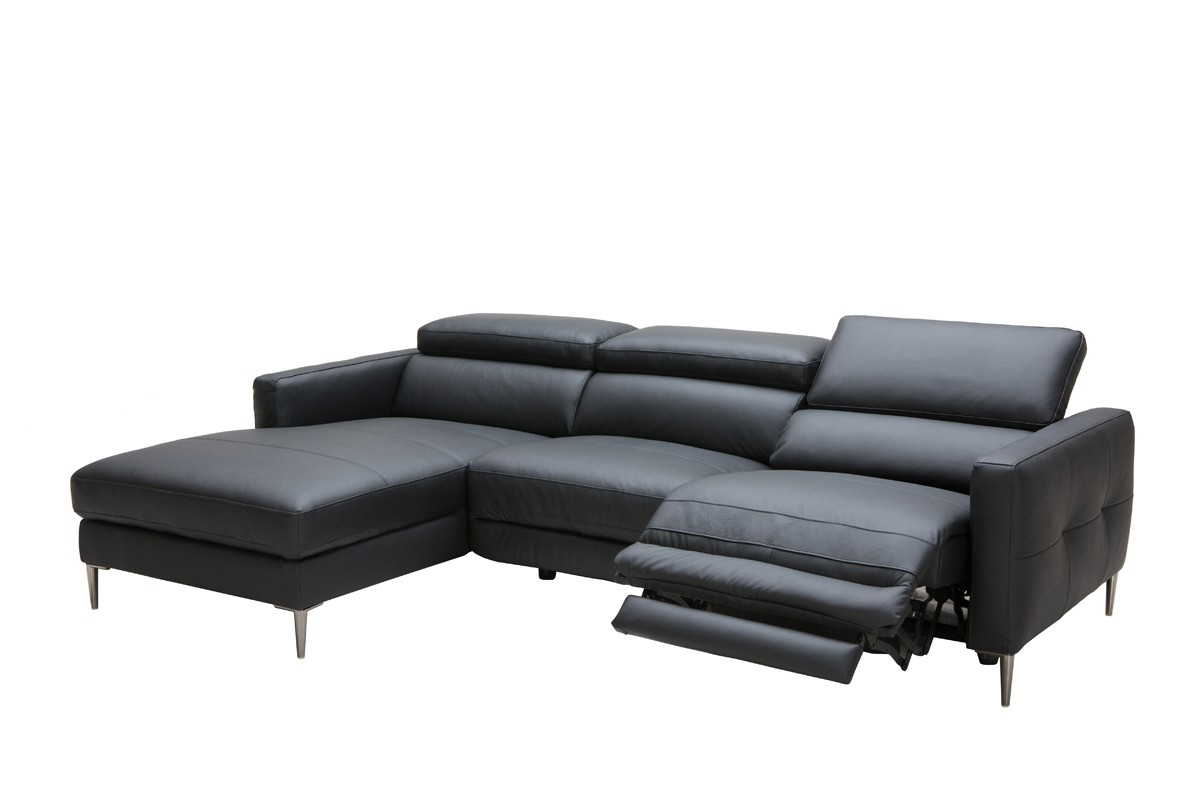Leather Recliner Chairs David Jones Divani Casa Booth Modern Black Leather Sectional W