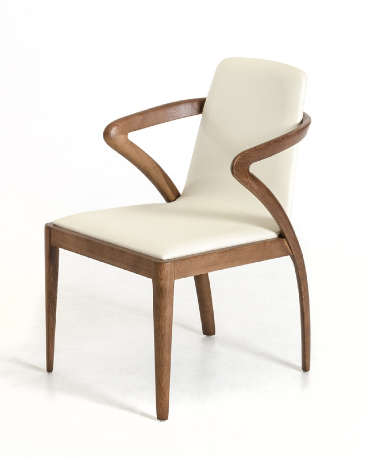 Chairs Dining Modrest Falcon Modern Walnut And Cream Dining Chair