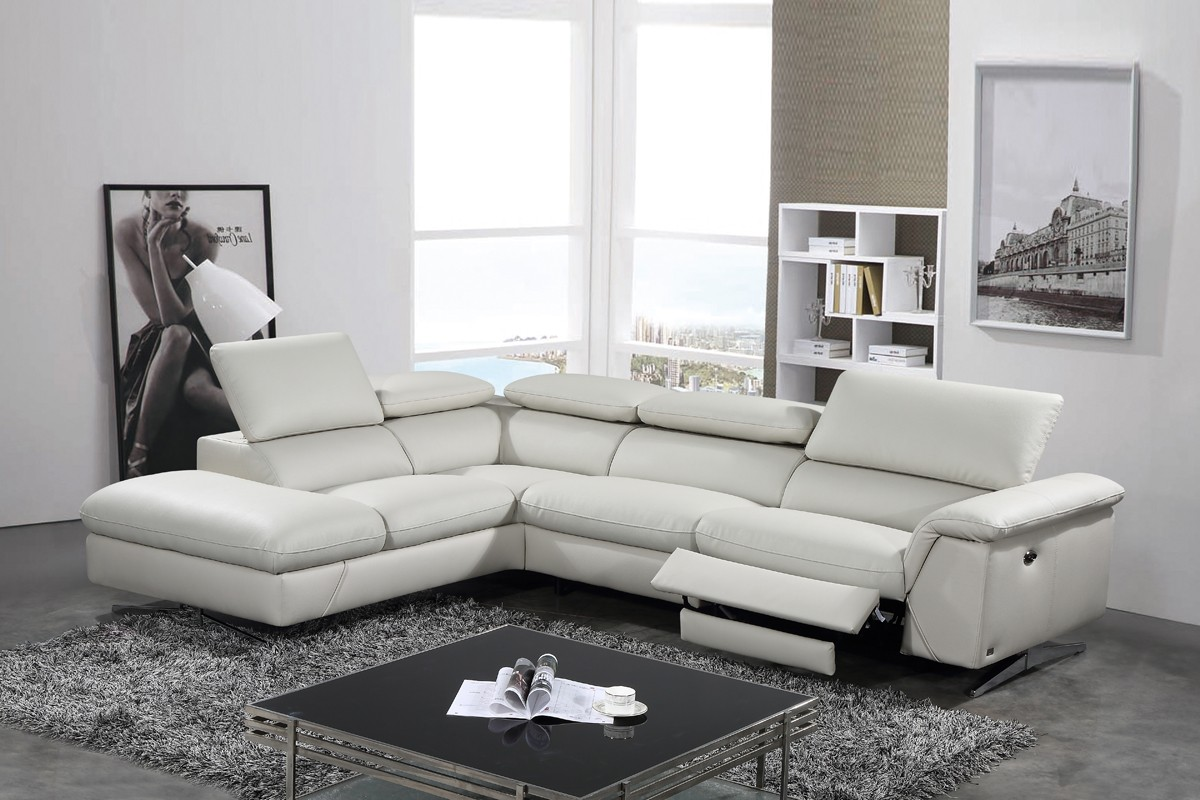 Divani Casa Encore Divani Casa Perri Modern Grey Leather Sofa Set Baci Living Room