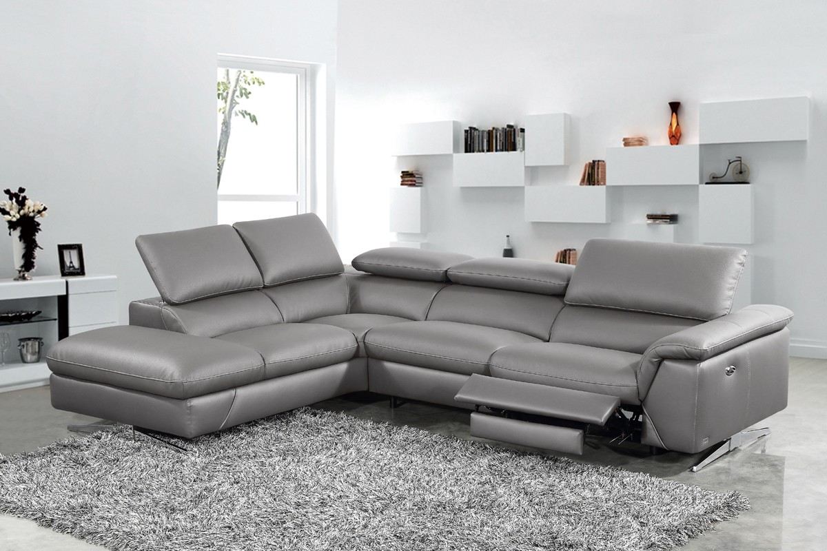 Divani Casa Maine Modern Dark Grey Eco Leather Sectional Sofa W Recliner - Couch Oder Sofa