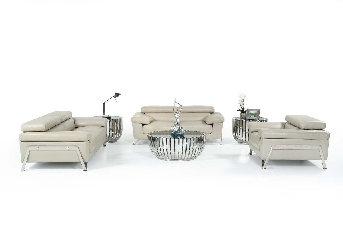 Divani Casa Encore Divani Casa Encore Modern Grey Leather Sofa Set